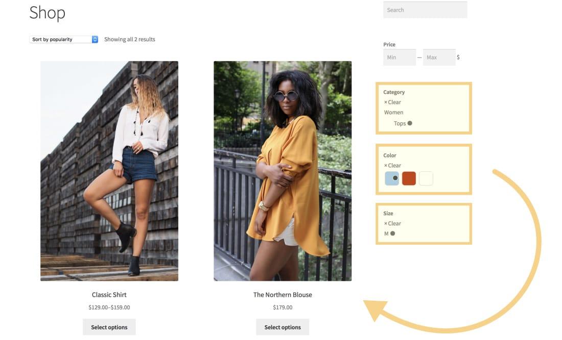 Semplificare la ricerca dei prodotti con i filtri (Fonte immagine: WooCommerce)