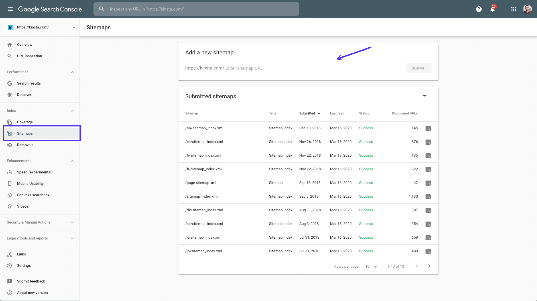 Presentazione di una sitemap a Google Search Console