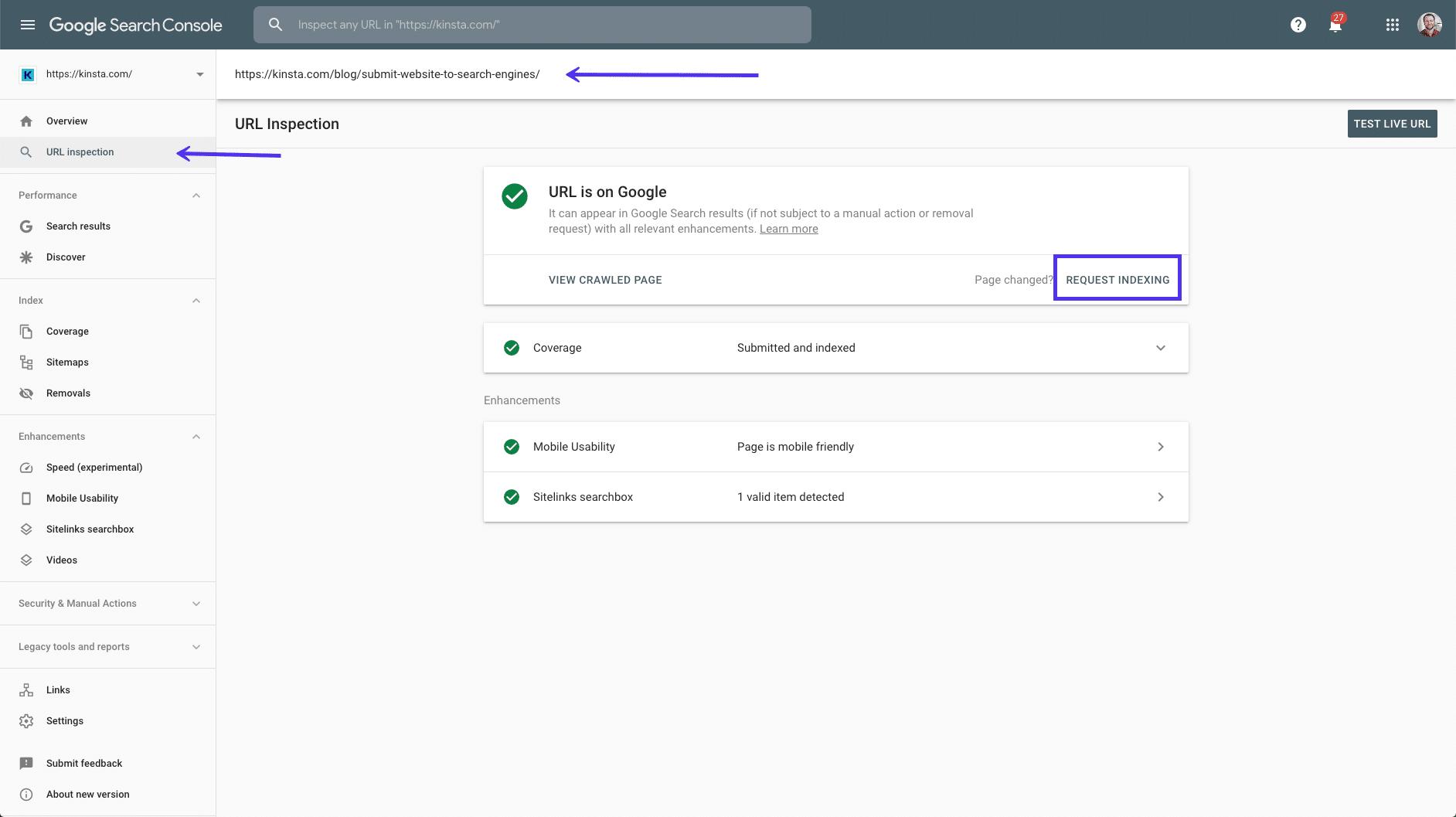 L'opzione Inspect per gli URL nella Google Search Console
