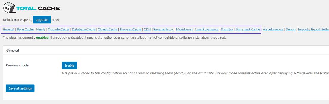 Opzioni per la cache in W3 Total Cache