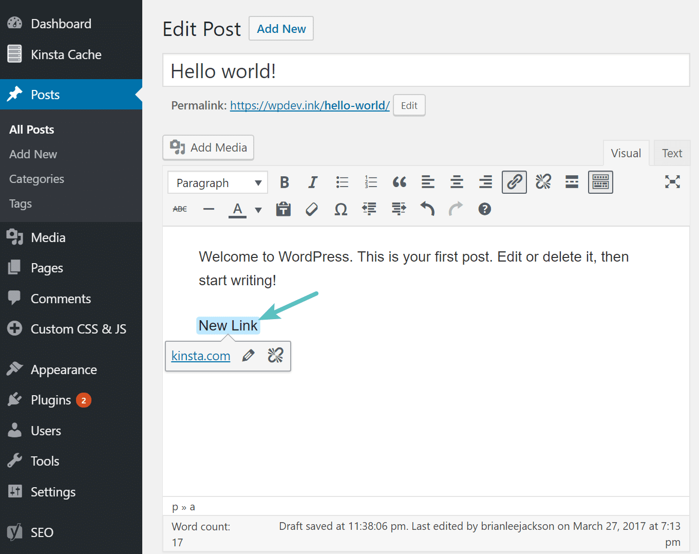 Confini dei link in WordPress 4.8