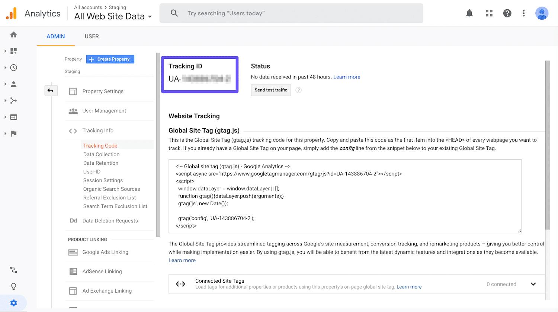 Accesso all'ID di tracciamento di Google Analytics