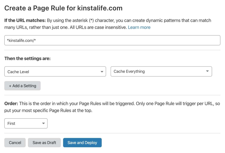 Aggiungere una regola di pagina in Cloudflare.