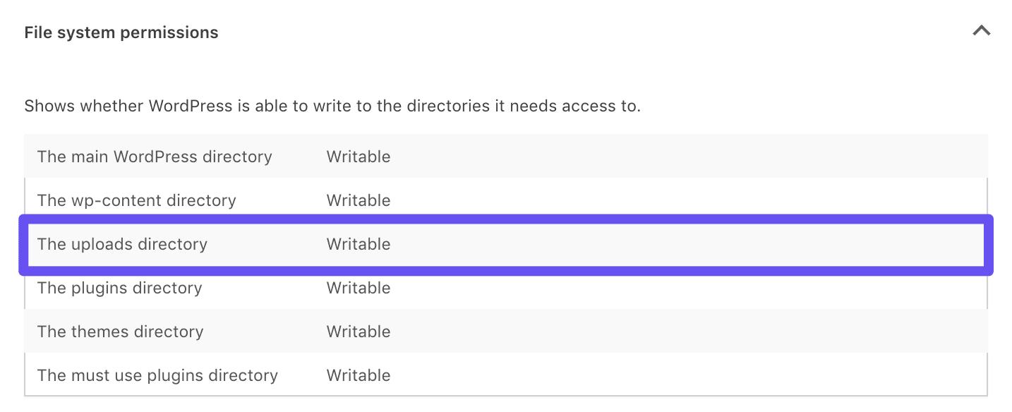 Autorizzazioni per i file scrivibili in Site Health tool