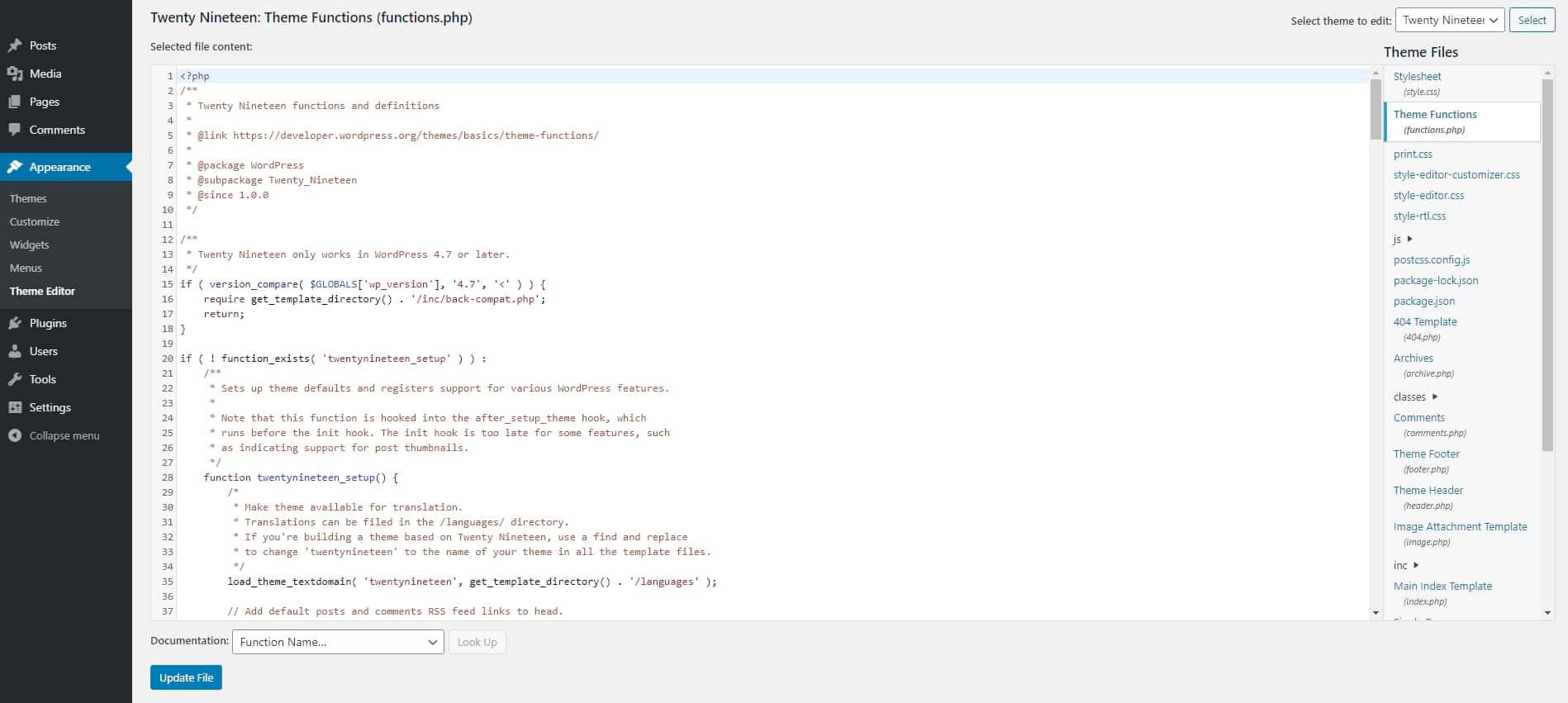 Editor del file functions.php in WordPress