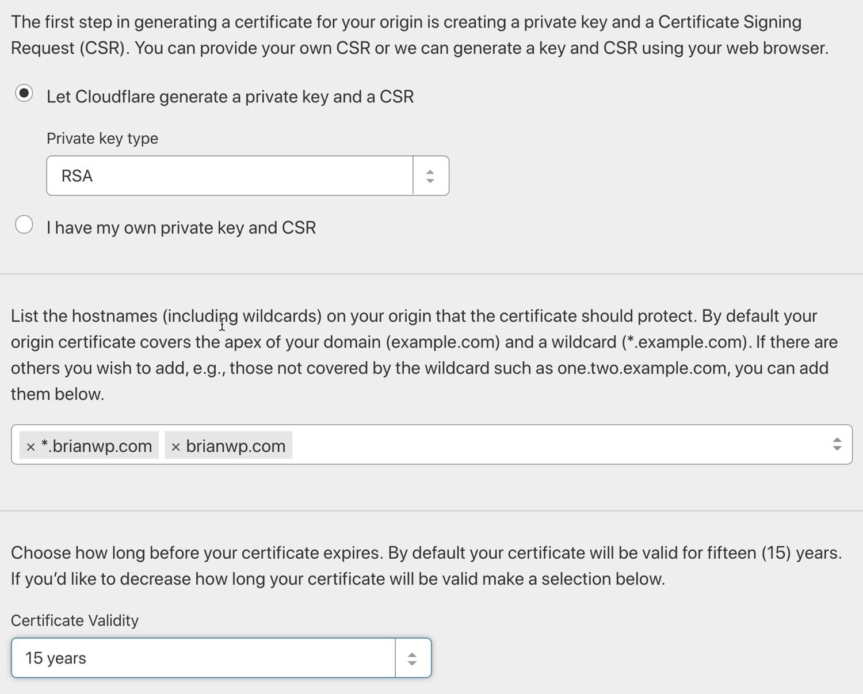 Generare un certificato di origine Cloudflare.