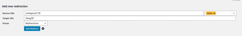 Impostazione di un reindirizzamento con metacarattere con il plugin Redirection