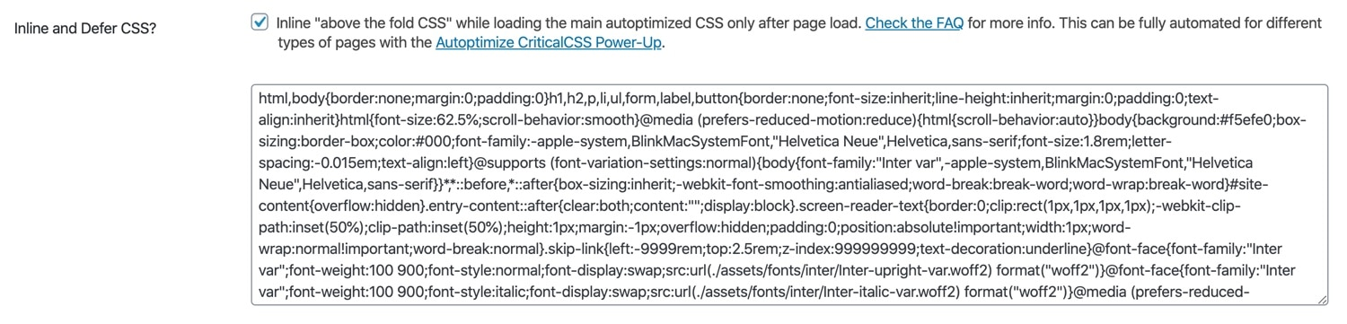 Inline and defer CSS in Autoptimize