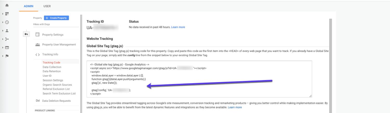 Installare il codice di tracciamento di Google Analytics