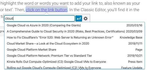 Ricerca di opzioni di link interno nel Classic Editor