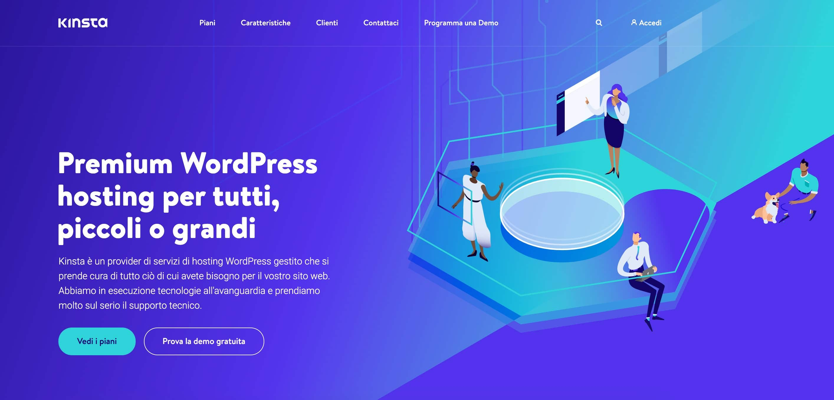 Above the fold sulla homepage di Kinsta