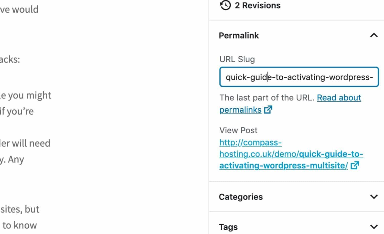 Modifica del permalink nella schermata di modifica dell'articolo