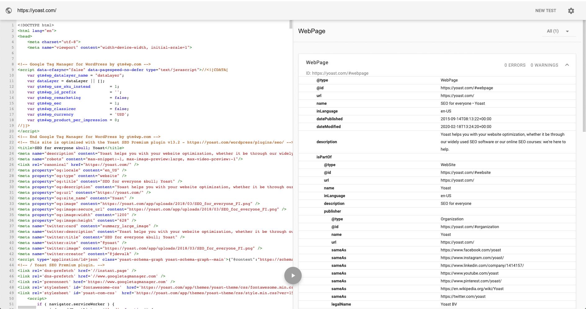 Test dei dati strutturati di Yoast