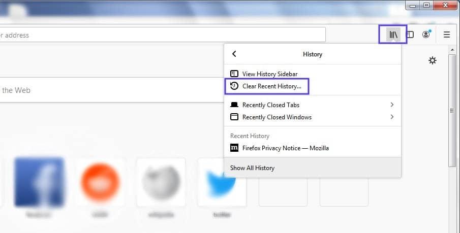L'opzione 'Clear Recent History' nelle impostazioni di Firefox