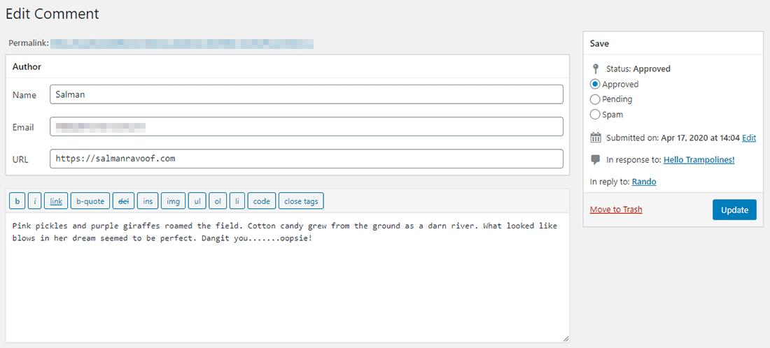 Il commento originale sul backend del sito