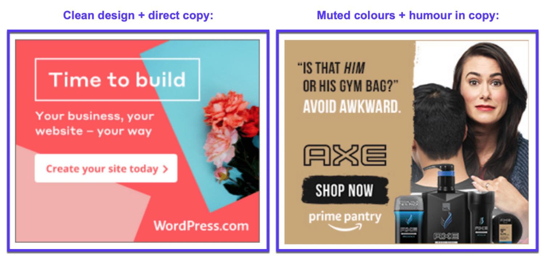 Diversi stili di banner pubblicitari e di copywriting