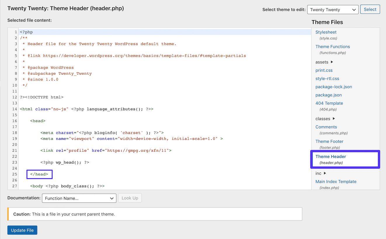 Modifica del file header.php in WordPress