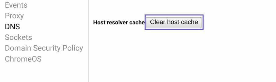 La pagina delle impostazioni per la pulizia della cache del DNS in Chrome