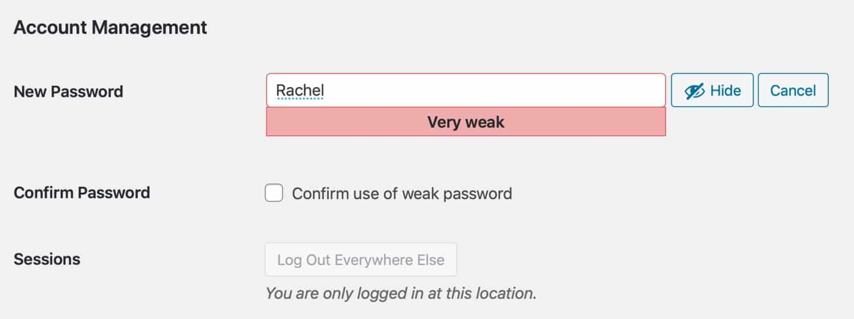 Reimpostare la password - debole