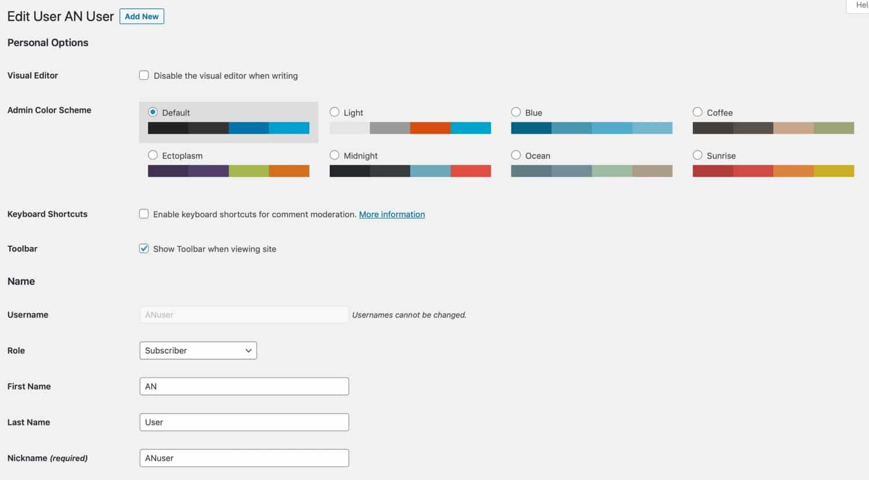 Schermata di modifica dell'utente