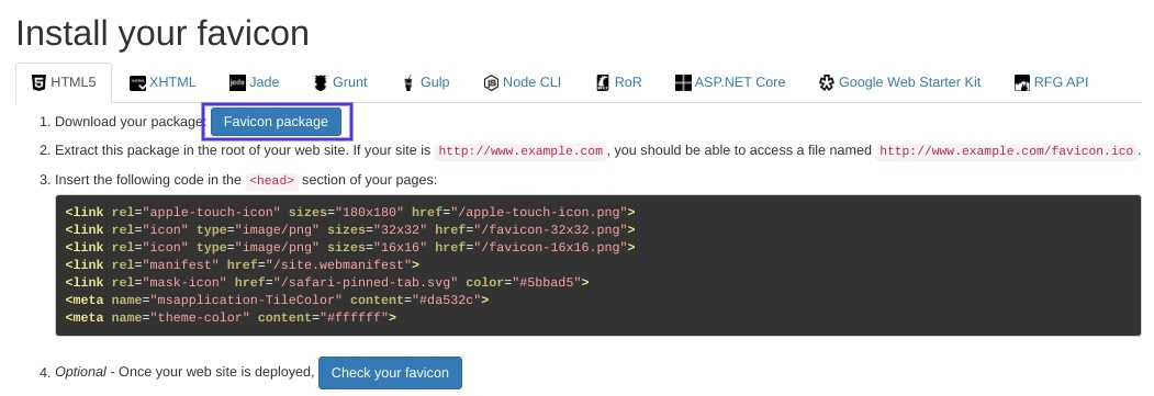 La schermata dove scaricare il pacchetto di Favicon