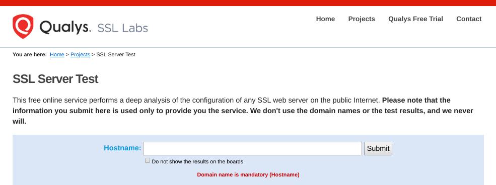 Lo strumento SSL Server Test del sito web di Qualys