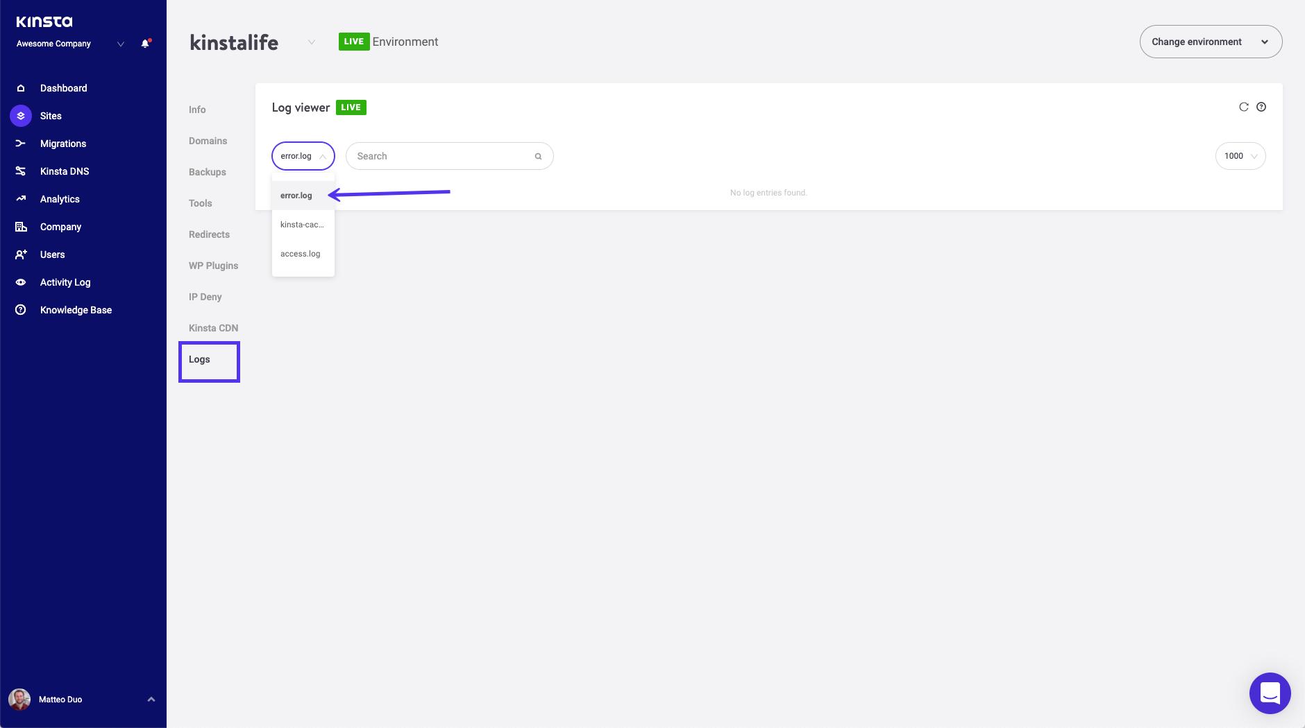 Visualizzatore del registro degli errori in MyKinsta