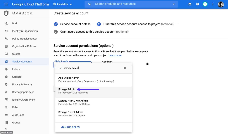 """Aggiungete le autorizzazioni """"Storage Admin"""" al vostro account di servizio."""