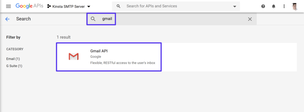 Cerca l''API Gmail