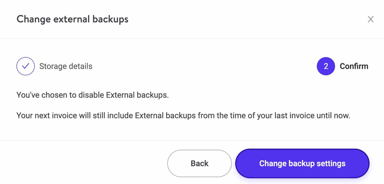 Confermare la rimozione del componente aggiuntivo dei backup esterni.