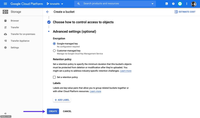 Creare il vostro bucket di Google Cloud Storage.