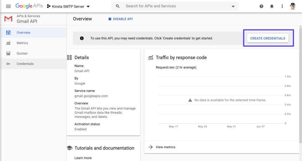 Creare le credenziali per l'API GmaiI