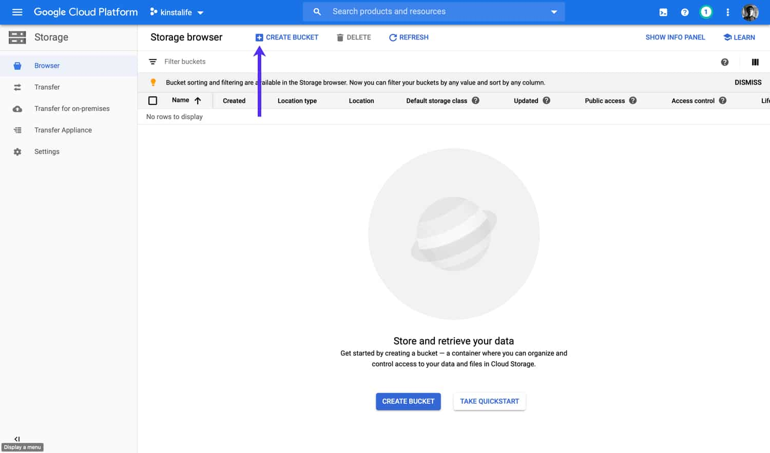 Creare un bucket di Google Cloud Storage.