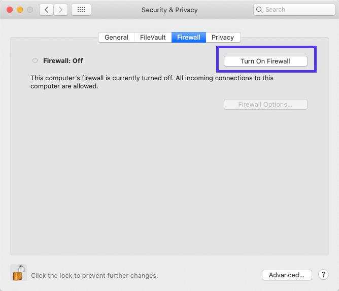 Applicazione firewall in macOS