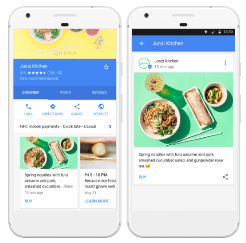 Puoi usare Google Posts per mostrare quello che potete fare