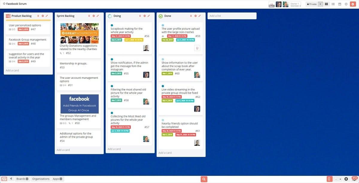 L'interfaccia utente di Restya