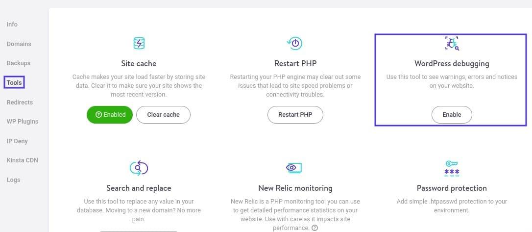 Come attivare la modalità di debug di WordPress in MyKinsta
