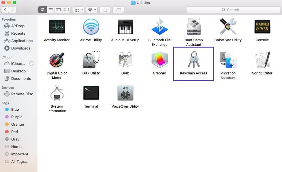 Accesso al portachiavi in macOS