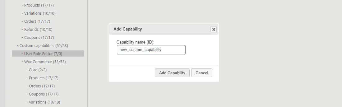 Aggiungere una nuova capacità in User Role Editor