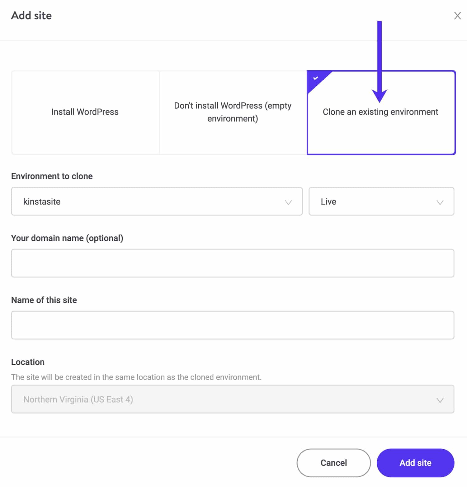 Clonare un ambiente Kinsta esistente in un nuovo sito.
