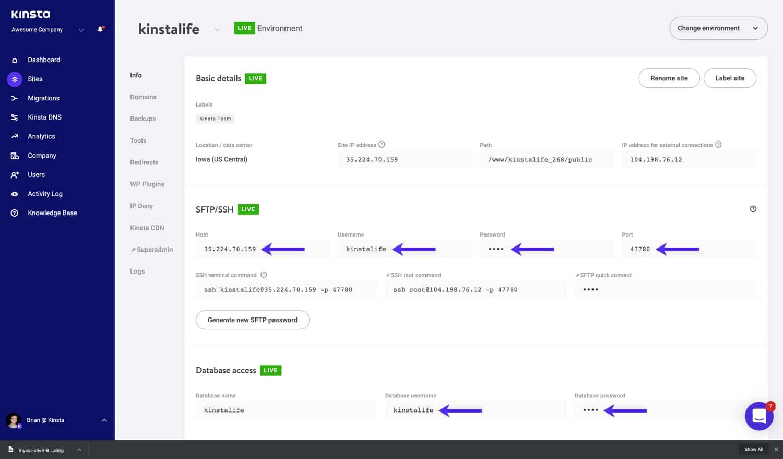 Le credenziali per configurare il tunneling SSH si trovano in MyKinsta.