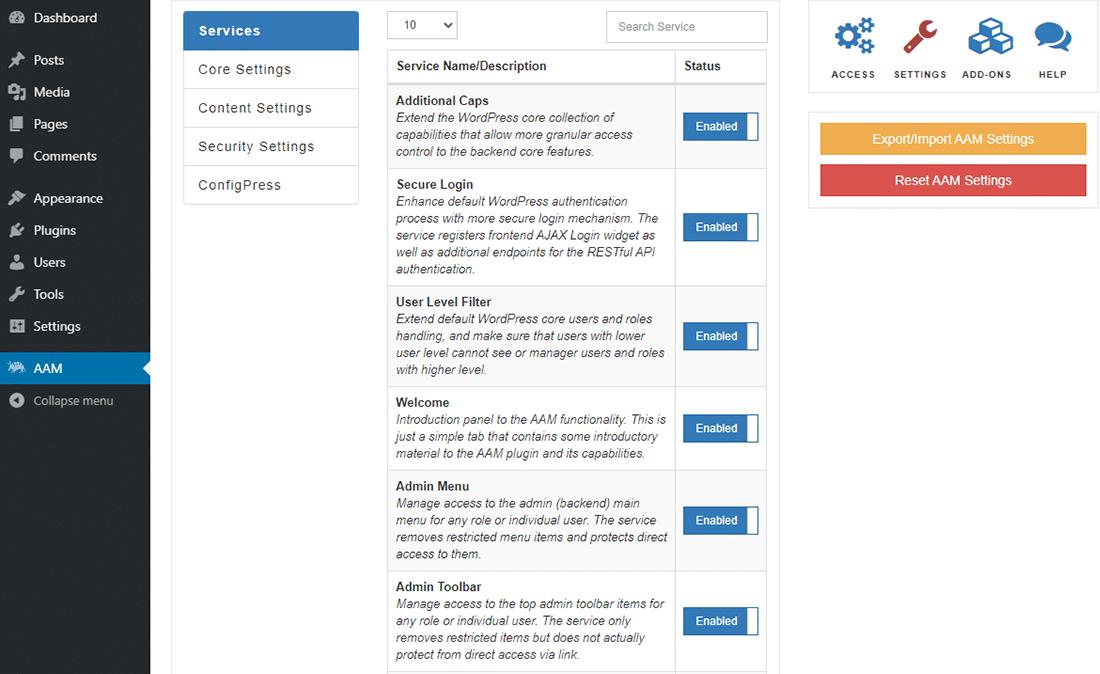 """Il pannello """"Impostazioni"""" in Advanced Access Manager"""