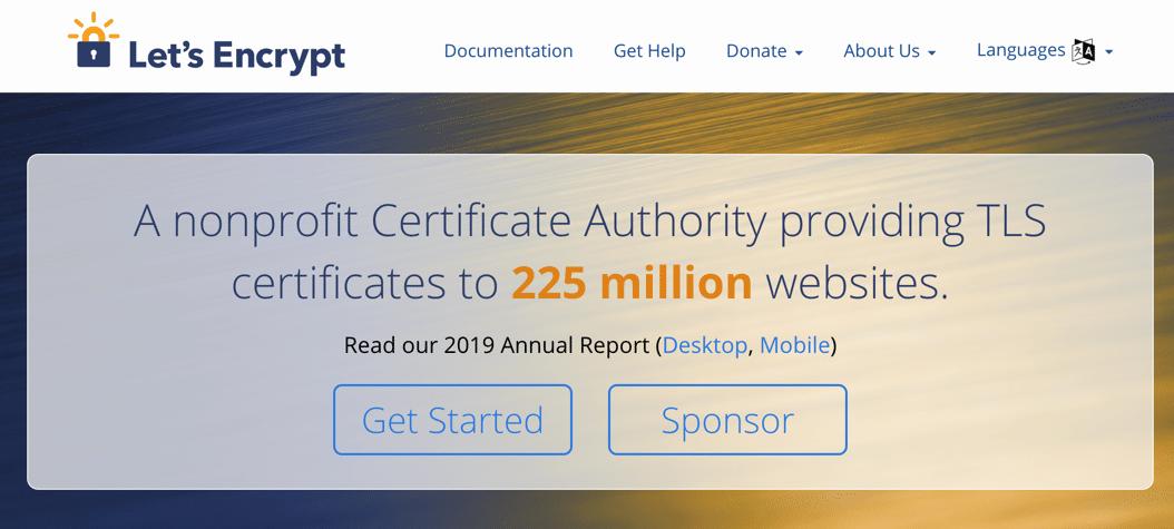 Homepage di Let's Encrypt