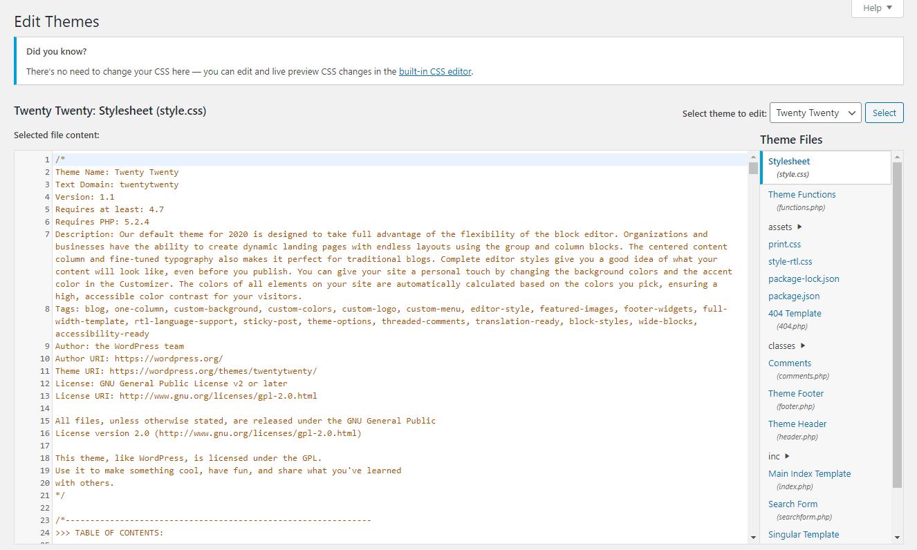 Modifica del foglio di stile style.css in un tema WordPress