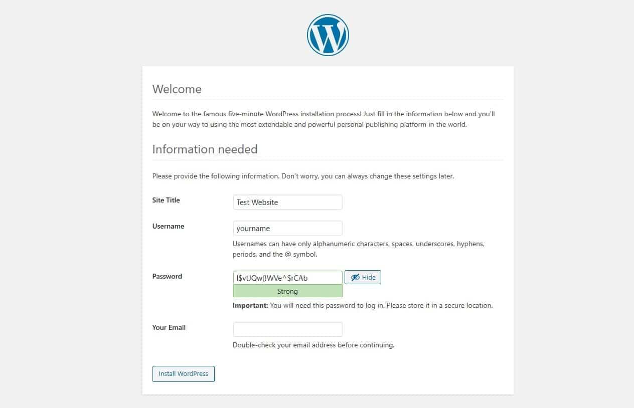 La pagina di benvenuto di un nuovo sito WordPress