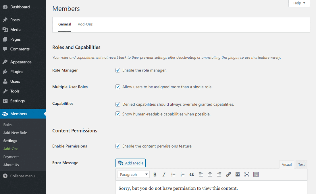 """Il pannello """"General Settings"""" in Members"""