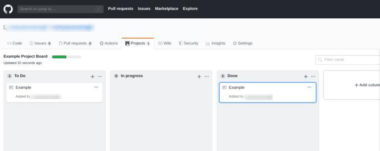 La scheda 'Progetti' di GitHub