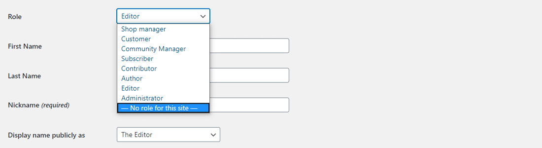 Eliminare qualsiasi ruolo utente in User Role Editor