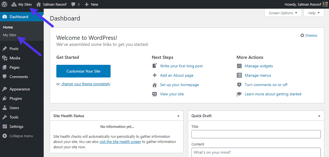 La bacheca del ruolo 'Super Admin' in un network Multisite di WordPress