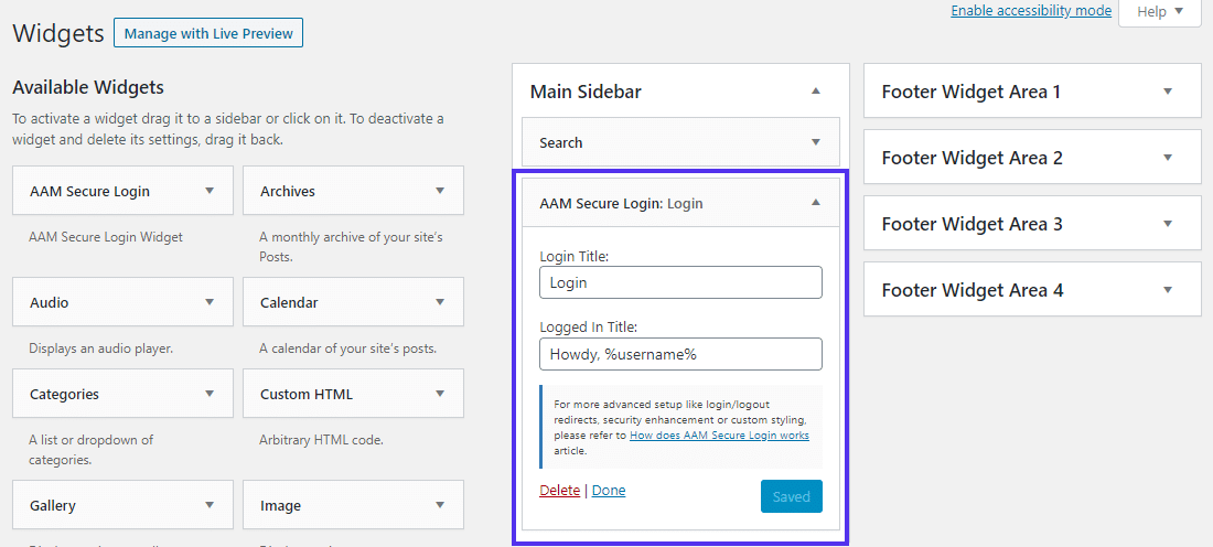 Widget 'AAM Secure Login' per aggiungere un modulo di accesso frontend